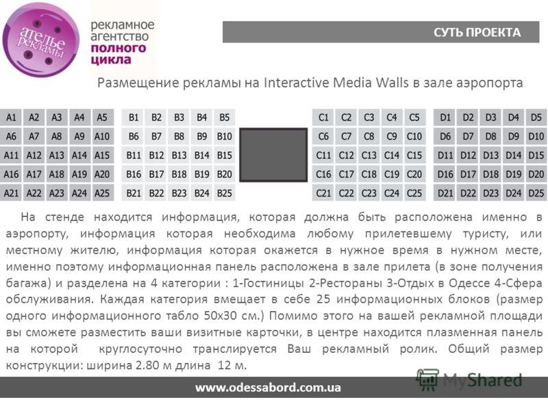 Размещение рекламы на Interactive Media Walls в зале аэропорта www.odessabord.com.ua СУТЬ ПРОЕКТА На стенде находится информация, которая должна быть расположена именно в аэропорту, информация которая необходима любому прилетевшему туристу, или местн