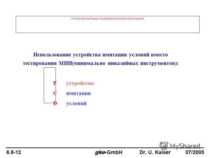 Устройство имитации условий для группового мониторинга Использование устройства имитации условий вместо тестирования МИИ(минимально инвазийных инструментов): Pустройство C имитации D условий 6.8-12 gke -GmbH Dr. U. Kaiser 07/2005