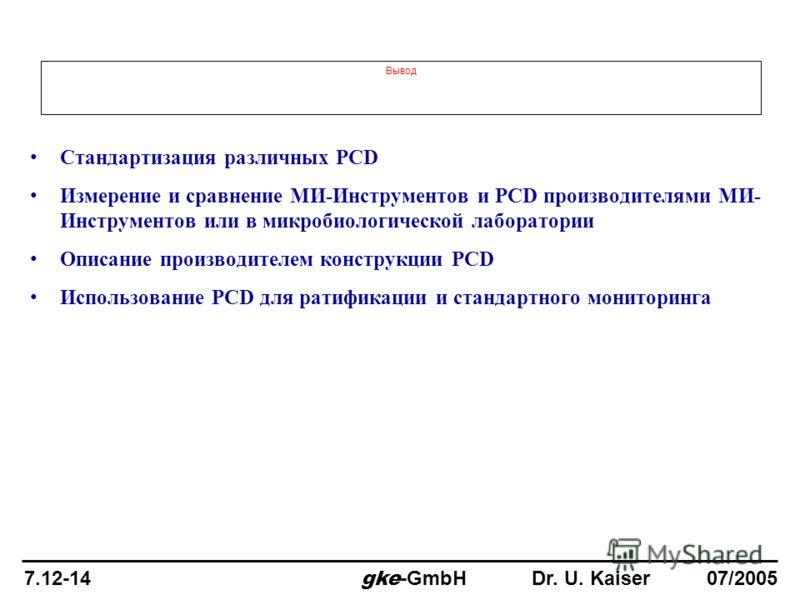 Вывод Стандартизация различных PCD Измерение и сравнение МИ-Инструментов и PCD производителями МИ- Инструментов или в микробиологической лаборатории Описание производителем конструкции PCD Использование PCD для ратификации и стандартного мониторинга
