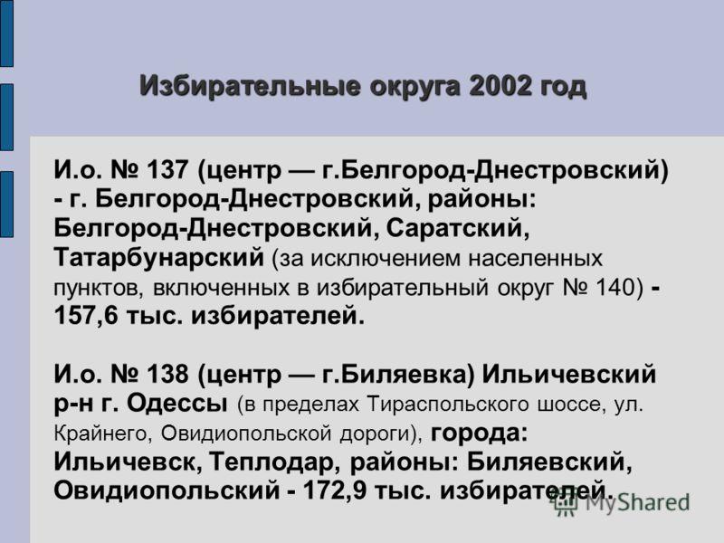 Избирательные округа 2002 год И.о. 137 (центр г.Белгород-Днестровский) - г. Белгород-Днестровский, районы: Белгород-Днестровский, Саратский, Татарбунарский (за исключением населенных пунктов, включенных в избирательный округ 140) - 157,6 тыс. избират