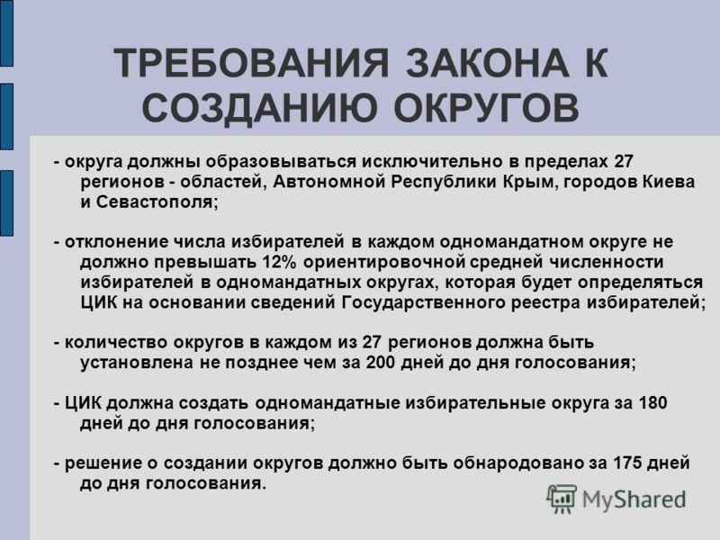 ТРЕБОВАНИЯ ЗАКОНА К СОЗДАНИЮ ОКРУГОВ - округа должны образовываться исключительно в пределах 27 регионов - областей, Автономной Республики Крым, городов Киева и Севастополя; - отклонение числа избирателей в каждом одномандатном округе не должно превы