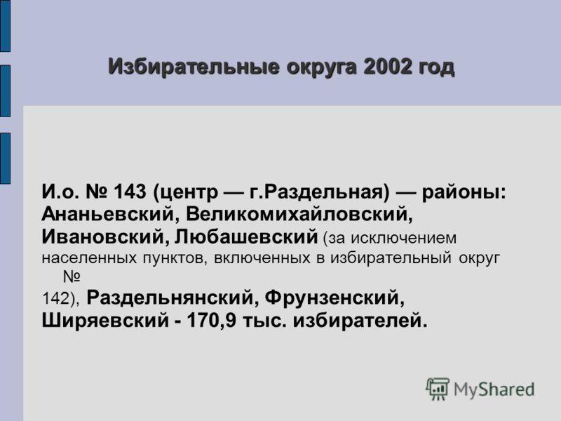 Избирательные округа 2002 год И.о. 143 (центр г.Раздельная) районы: Ананьевский, Великомихайловский, Ивановский, Любашевский (за исключением населенных пунктов, включенных в избирательный округ 142), Раздельнянский, Фрунзенский, Ширяевский - 170,9 ты