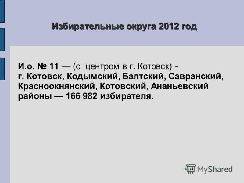 Избирательные округа 2012 год И.о. 11 (с центром в г. Котовск) - г. Котовск, Кодымский, Балтский, Савранский, Красноокнянский, Котовский, Ананьевский районы 166 982 избирателя.