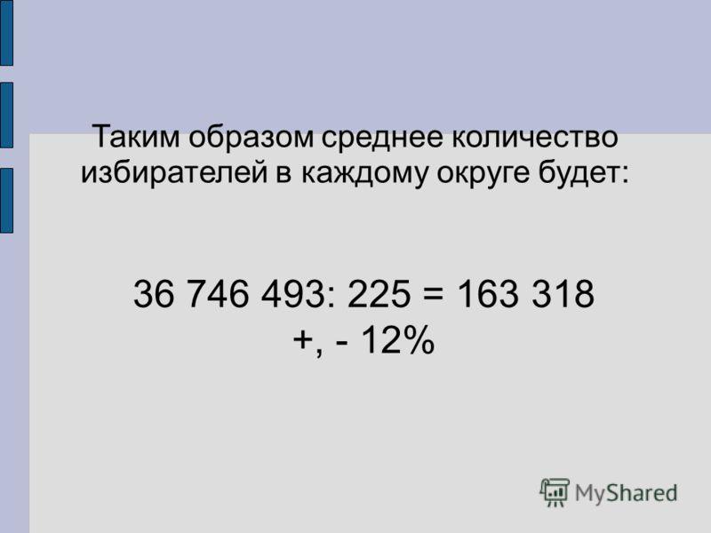 Таким образом среднее количество избирателей в каждому округе будет: 36 746 493: 225 = 163 318 +, - 12%