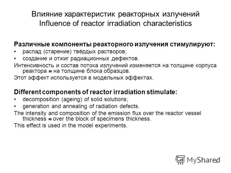 3 Влияние характеристик реакторных излучений Influence of reactor irradiation characteristics Различные компоненты реакторного излучения стимулируют: распад (старение) твёрдых растворов; создание и отжиг радиационных дефектов. Интенсивность и состав