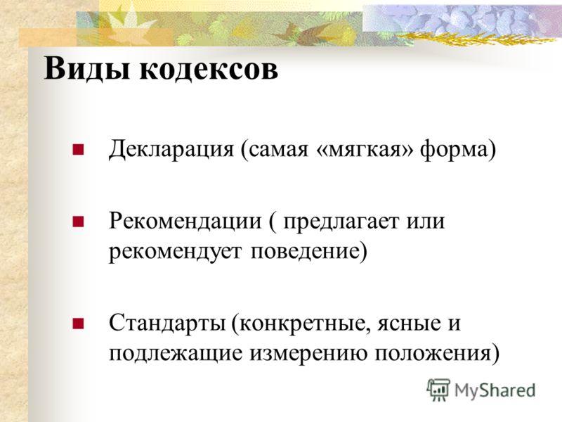 Виды кодексов Декларация (самая «мягкая» форма) Рекомендации ( предлагает или рекомендует поведение) Стандарты (конкретные, ясные и подлежащие измерению положения)