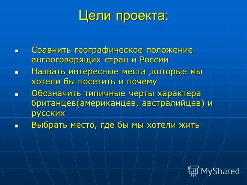 Цели проекта: Сравнить географическое положение англоговорящих стран и России Сравнить географическое положение англоговорящих стран и России Назвать интересные места,которые мы хотели бы посетить и почему Назвать интересные места,которые мы хотели б