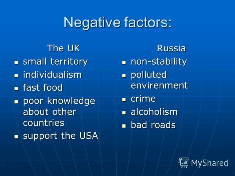 Negative factors: The UK small territory small territory individualism individualism fast food fast food poor knowledge about other countries poor knowledge about other countries support the USA support the USARussia non-stability non-stability pollu