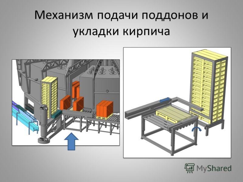 Механизм подачи поддонов и укладки кирпича