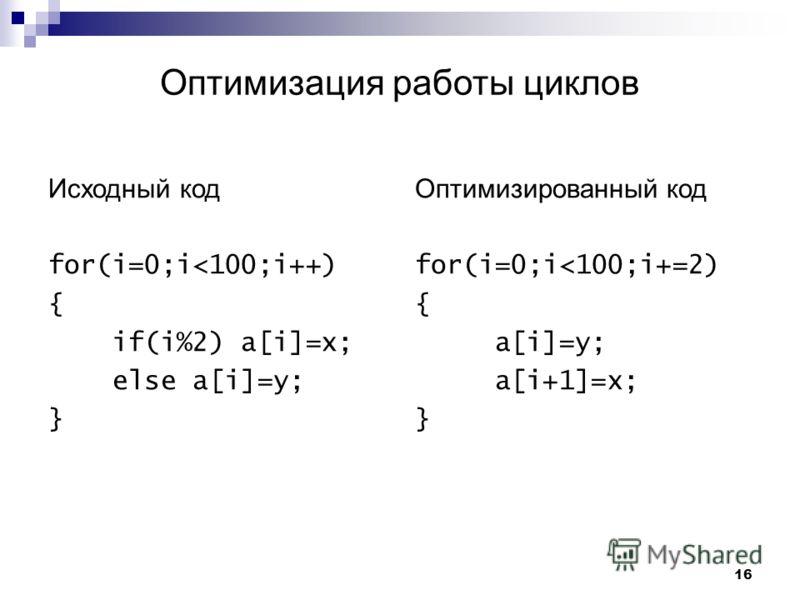 16 Оптимизация работы циклов Исходный код for(i=0;i