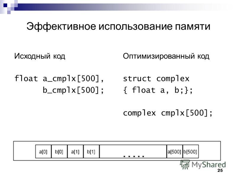 25 Эффективное использование памяти Исходный код float a_cmplx[500], b_cmplx[500]; Оптимизированный код struct complex {float a, b;}; complex cmplx[500];