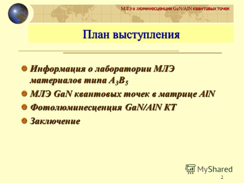 2 МЛЭ и л юминесценция GaN/AlN квантовых точек План выступления Информация о лаборатории МЛЭ материалов типа А 3 В 5 МЛЭ GaN квантовых точек в матрице AlN Фотолюминесценция GaN/AlN КТ Заключение