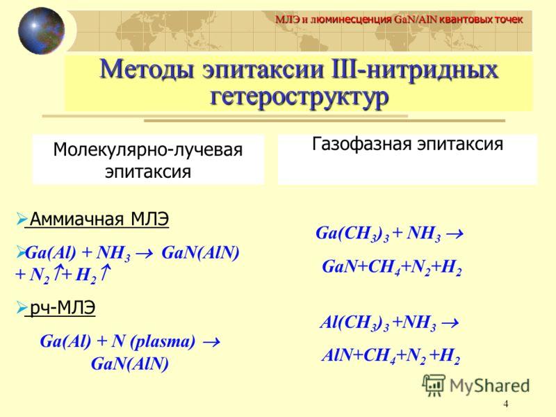 4 МЛЭ и л юминесценция GaN/AlN квантовых точек Методы эпитаксии III-нитридных гетероструктур Молекулярно-лучевая эпитаксия Газофазная эпитаксия Аммиачная МЛЭ Ga(Al) + NH 3 GaN(AlN) + N 2 + H 2 рч-МЛЭ Ga(Al) + N (plasma) GaN(AlN) Ga(CH 3 ) 3 + NH 3 Ga