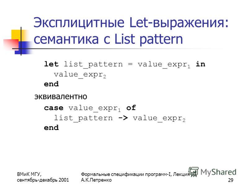 ВМиК МГУ, сентябрь-декабрь 2001 Формальные спецификации программ-I, Лекция 10. А.К.Петренко29 Эксплицитные Let-выражения: семантика с List pattern let list_pattern = value_expr 1 in value_expr 2 end эквивалентно case value_expr 1 of list_pattern -> v