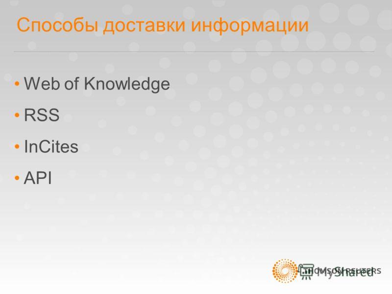 Способы доставки информации Web of Knowledge RSS InCites API