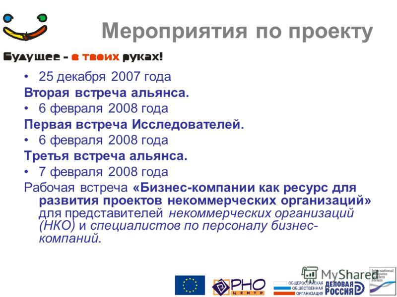 Мероприятия по проекту 25 декабря 2007 года Вторая встреча альянса. 6 февраля 2008 года Первая встреча Исследователей. 6 февраля 2008 года Третья встреча альянса. 7 февраля 2008 года Рабочая встреча «Бизнес-компании как ресурс для развития проектов н