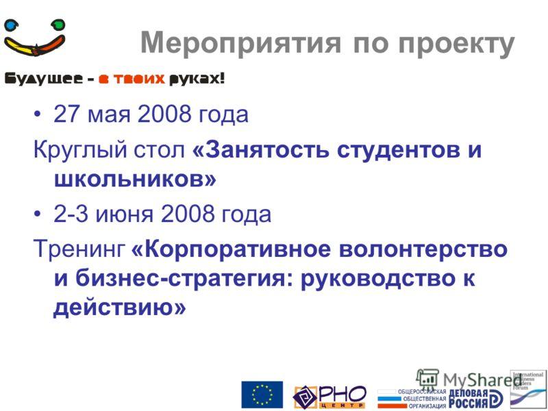 Мероприятия по проекту 27 мая 2008 года Круглый стол «Занятость студентов и школьников» 2-3 июня 2008 года Тренинг «Корпоративное волонтерство и бизнес-стратегия: руководство к действию»