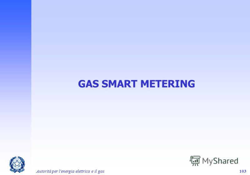 Autorità per l'energia elettrica e il gas103 GAS SMART METERING