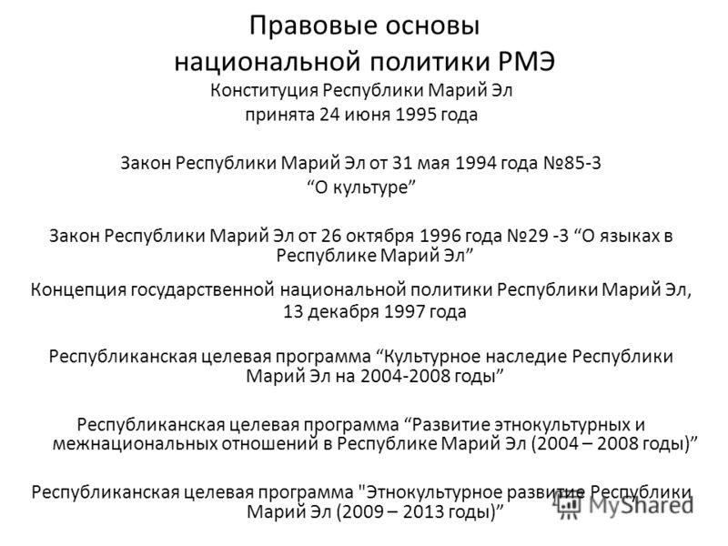 Правовые основы национальной политики РМЭ Конституция Республики Марий Эл принята 24 июня 1995 года Закон Республики Марий Эл от 31 мая 1994 года 85-3 О культуре Закон Республики Марий Эл от 26 октября 1996 года 29 -3 О языках в Республике Марий Эл К