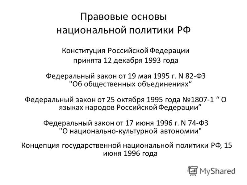 Правовые основы национальной политики РФ Конституция Российской Федерации принята 12 декабря 1993 года Федеральный закон от 19 мая 1995 г. N 82-ФЗ