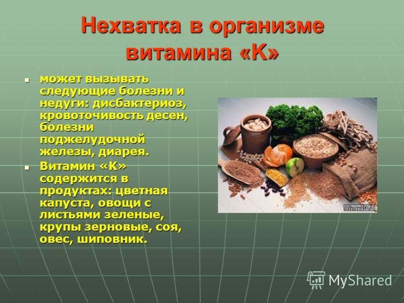 Нехватка в организме витамина «K» может вызывать следующие болезни и недуги: дисбактериоз, кровоточивость десен, болезни поджелудочной железы, диарея. может вызывать следующие болезни и недуги: дисбактериоз, кровоточивость десен, болезни поджелудочно