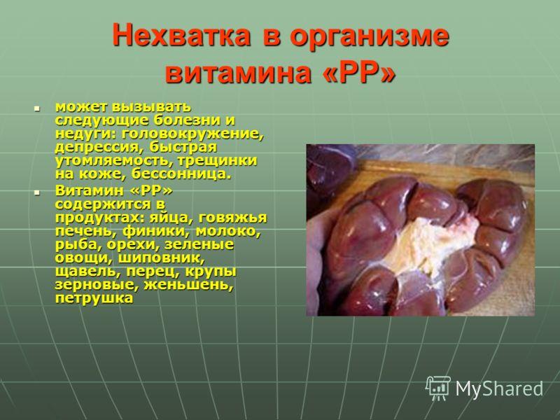 Нехватка в организме витамина «PP» может вызывать следующие болезни и недуги: головокружение, депрессия, быстрая утомляемость, трещинки на коже, бессонница. может вызывать следующие болезни и недуги: головокружение, депрессия, быстрая утомляемость, т