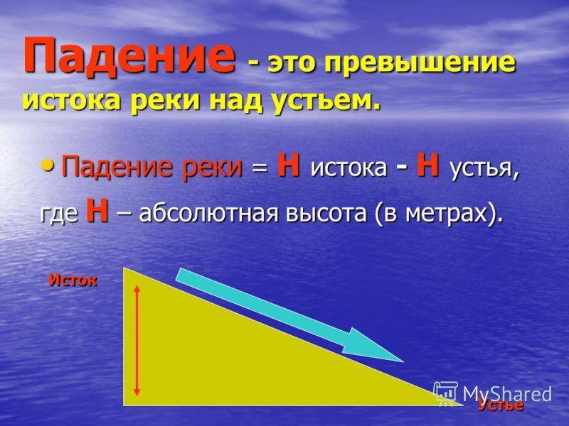 Падение - это превышение истока реки над устьем. Падение реки = Н истока - Н устья, Падение реки = Н истока - Н устья, где Н – абсолютная высота (в метрах). Исток Устье
