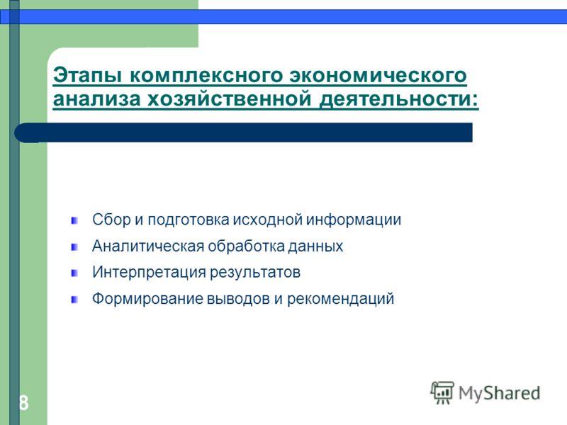 8 Этапы комплексного экономического анализа хозяйственной деятельности: Сбор и подготовка исходной информации Аналитическая обработка данных Интерпретация результатов Формирование выводов и рекомендаций