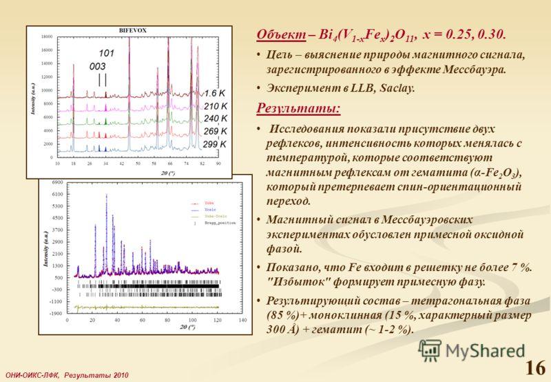 16 ОНИ-ОИКС-ЛФК, Результаты 2010 Объект – Bi 4 (V 1-x Fe x ) 2 O 11, x = 0.25, 0.30. Цель – выяснение природы магнитного сигнала, зарегистрированного в эффекте Мессбауэра. Эксперимент в LLB, Saclay. Результаты: Исследования показали присутствие двух