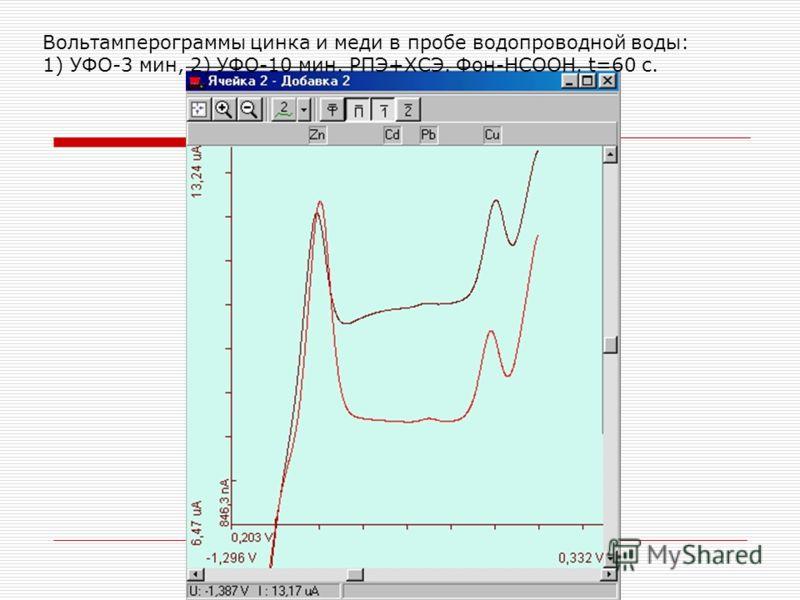 Вольтамперограммы цинка и меди в пробе водопроводной воды: 1) УФО-3 мин, 2) УФО-10 мин. РПЭ+ХСЭ. Фон-HCOOH. t=60 с.