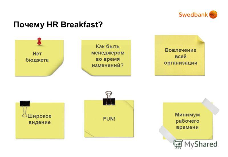 Как быть менеджером во время изменений? Нет бюджета Вовлечение всей организации Широкое видение FUN! Минимум рабочего времени Почему HR Breakfast?