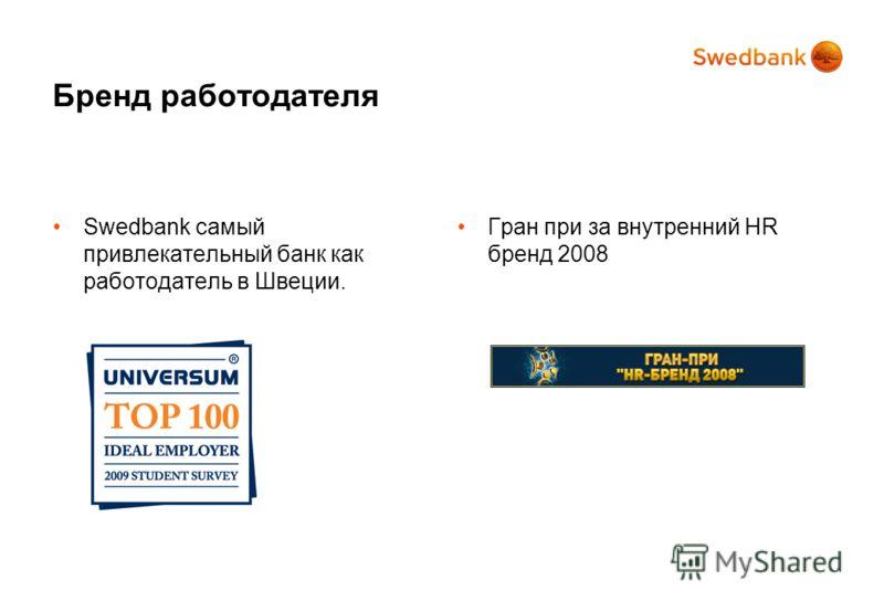 Бренд работодателя Swedbank самый привлекательный банк как работодатель в Швеции. Гран при за внутренний HR бренд 2008