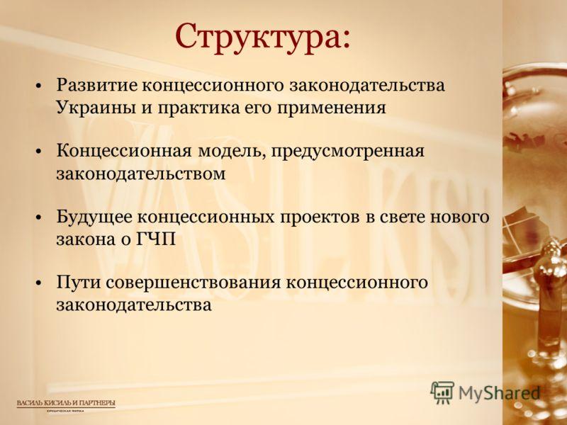 Структура: Развитие концессионного законодательства Украины и практика его применения Концессионная модель, предусмотренная законодательством Будущее концессионных проектов в свете нового закона о ГЧП Пути совершенствования концессионного законодател