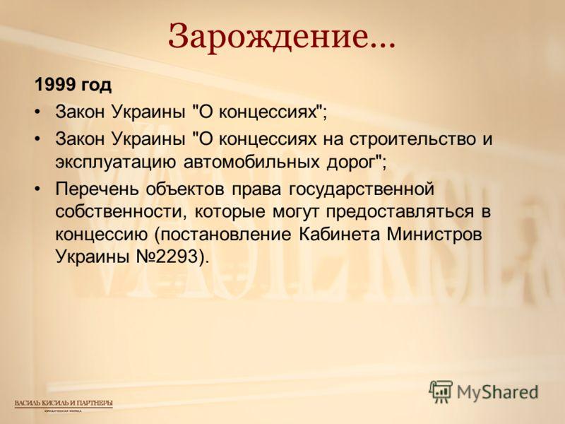 Зарождение… 1999 год Закон Украины