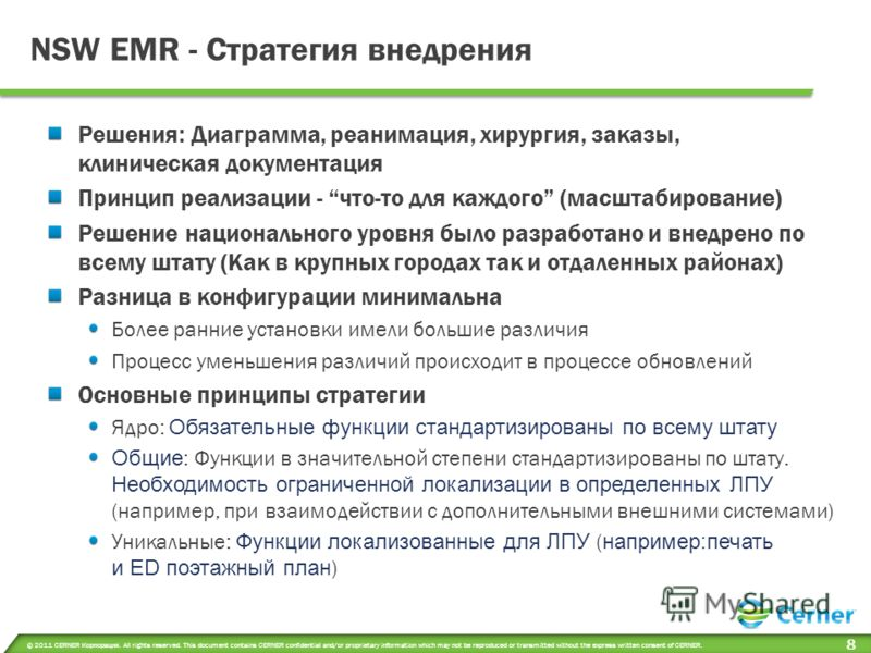 © 2011 CERNER Корпорация. All rights reserved. This document contains CERNER confidential and/or proprietary information which may not be reproduced or transmitted without the express written consent of CERNER. 8 NSW EMR - Стратегия внедрения Решения