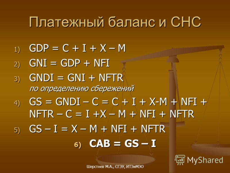 Шерстнев М.А., СГЭУ, ИТЭиМЭО Платежный баланс и СНС 1) GDP = C + I + X – M 2) GNI = GDP + NFI 3) GNDI = GNI + NFTR по определению сбережений 4) GS = GNDI – C = C + I + X-M + NFI + NFTR – C = I +X – M + NFI + NFTR 5) GS – I = X – M + NFI + NFTR 6) CAB