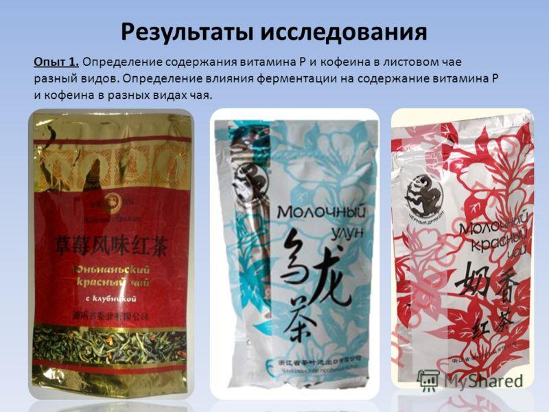 Результаты исследования Опыт 1. Определение содержания витамина Р и кофеина в листовом чае разный видов. Определение влияния ферментации на содержание витамина Р и кофеина в разных видах чая.