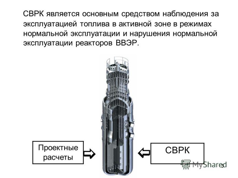 3 СВРК является основным средством наблюдения за эксплуатацией топлива в активной зоне в режимах нормальной эксплуатации и нарушения нормальной эксплуатации реакторов ВВЭР. Проектные расчеты СВРК