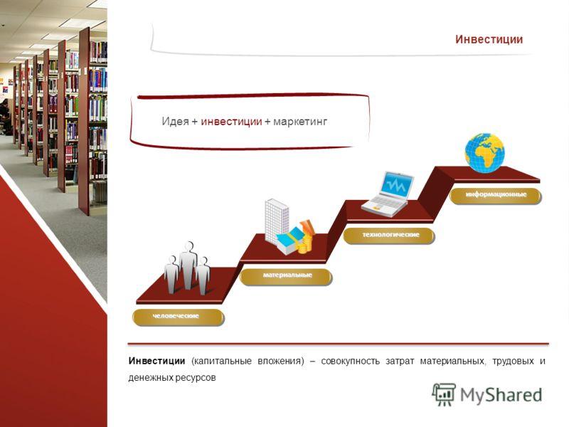 Инвестиции (капитальные вложения) – совокупность затрат материальных, трудовых и денежных ресурсов Инвестиции человеческие материальные технологические информационные Идея + инвестиции + маркетинг
