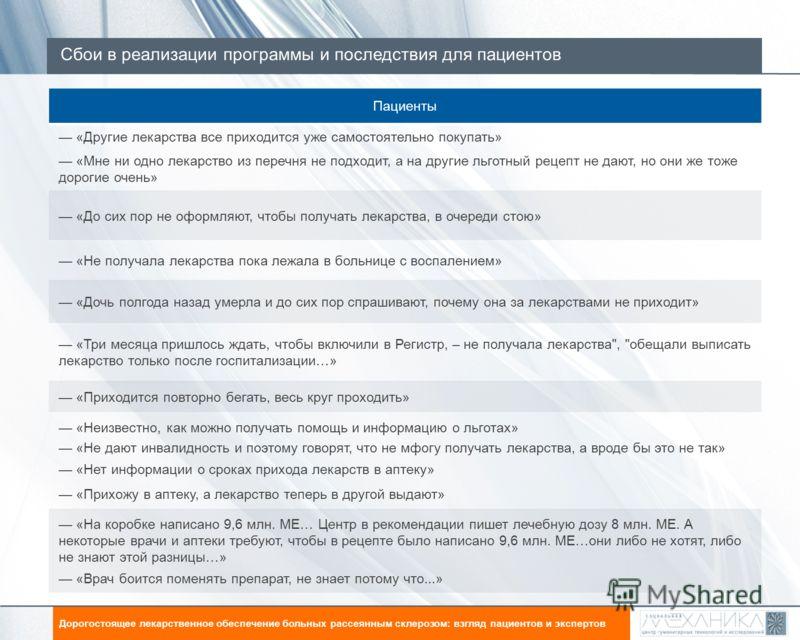 Сбои в реализации программы и последствия для пациентов Цель исследования: Дорогостоящее лекарственное обеспечение больных рассеянным склерозом: взгляд пациентов и экспертов