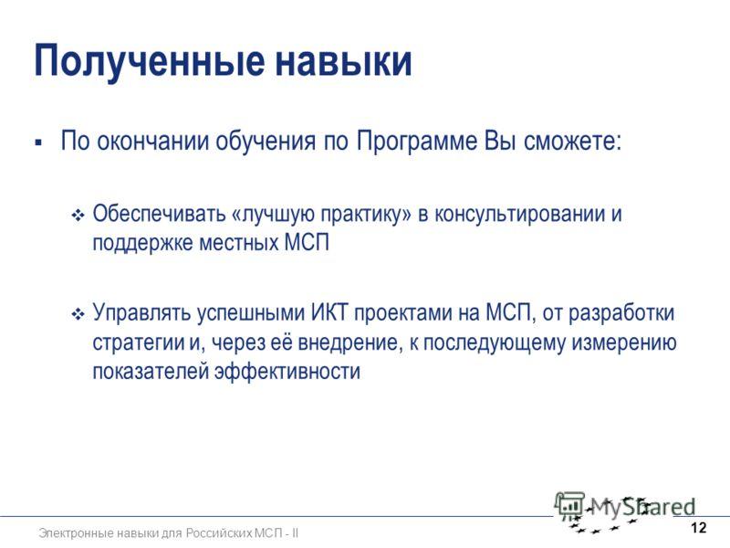 Электронные навыки для Российских МСП - II 12 Полученные навыки По окончании обучения по Программе Вы сможете: Обеспечивать «лучшую практику» в консультировании и поддержке местных МСП Управлять успешными ИКТ проектами на МСП, от разработки стратегии