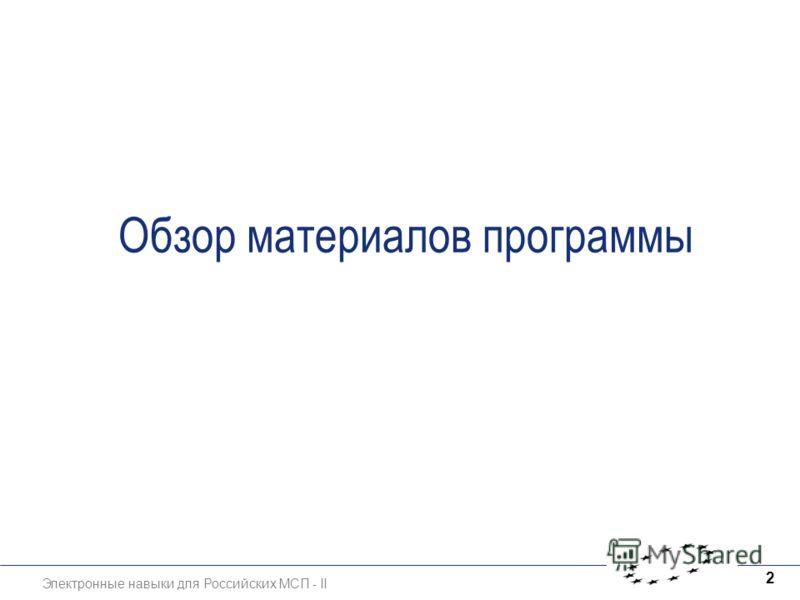 Электронные навыки для Российских МСП - II 2 Обзор материалов программы