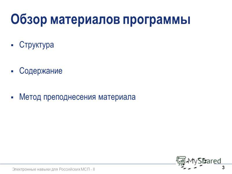 Электронные навыки для Российских МСП - II 3 Обзор материалов программы Структура Содержание Метод преподнесения материала