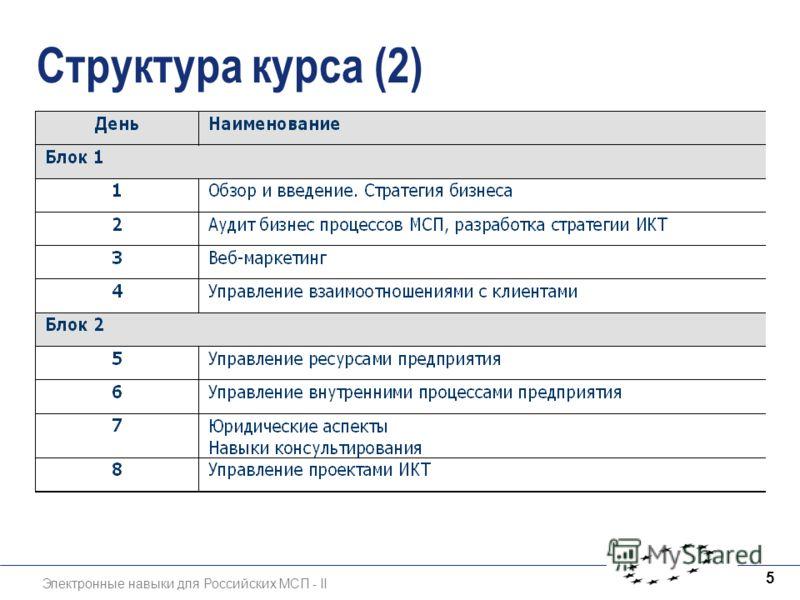 Электронные навыки для Российских МСП - II 5 Структура курса (2)