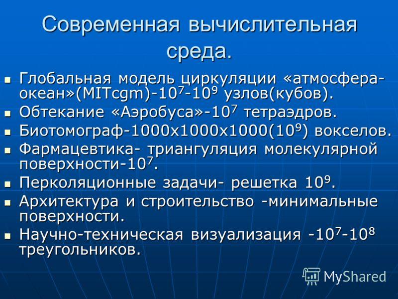 Современная вычислительная среда. Глобальная модель циркуляции «атмосфера- океан»(МITcgm)-10 7 -10 9 узлов(кубов). Глобальная модель циркуляции «атмосфера- океан»(МITcgm)-10 7 -10 9 узлов(кубов). Обтекание «Аэробуса»-10 7 тетраэдров. Обтекание «Аэроб