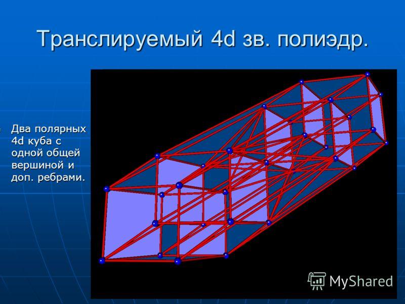 Транслируемый 4d зв. полиэдр. Два полярных 4d куба с одной общей вершиной и доп. ребрами. Два полярных 4d куба с одной общей вершиной и доп. ребрами.
