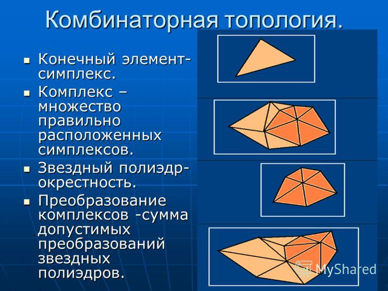 Комбинаторная топология. Конечный элемент- симплекс. Конечный элемент- симплекс. Комплекс – множество правильно расположенных симплексов. Комплекс – множество правильно расположенных симплексов. Звездный полиэдр- окрестность. Звездный полиэдр- окрест
