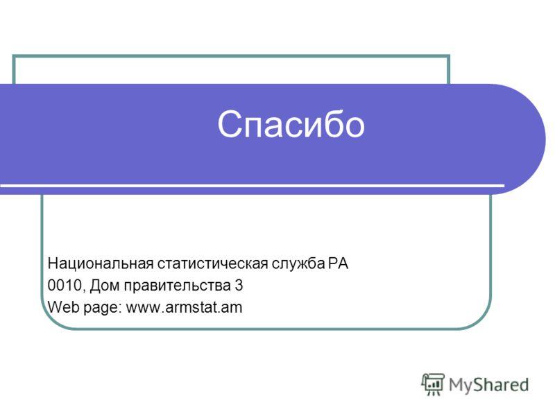 Спасибо Национальная статистическая служба РА 0010, Дом правительства 3 Web page: www.armstat.am
