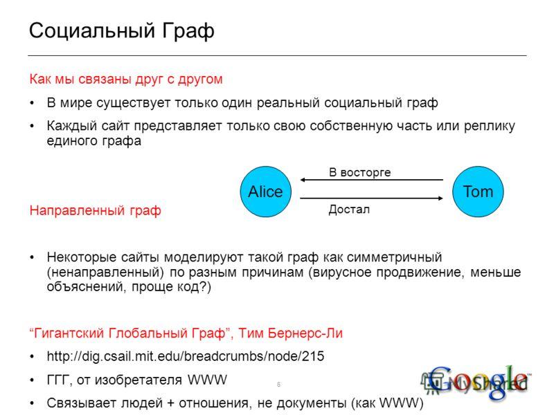 6 Социальный Граф Как мы связаны друг с другом В мире существует только один реальный социальный граф Каждый сайт представляет только свою собственную часть или реплику единого графа Направленный граф Некоторые сайты моделируют такой граф как симметр