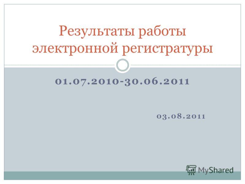01.07.2010-30.06.2011 03.08.2011 Результаты работы электронной регистратуры